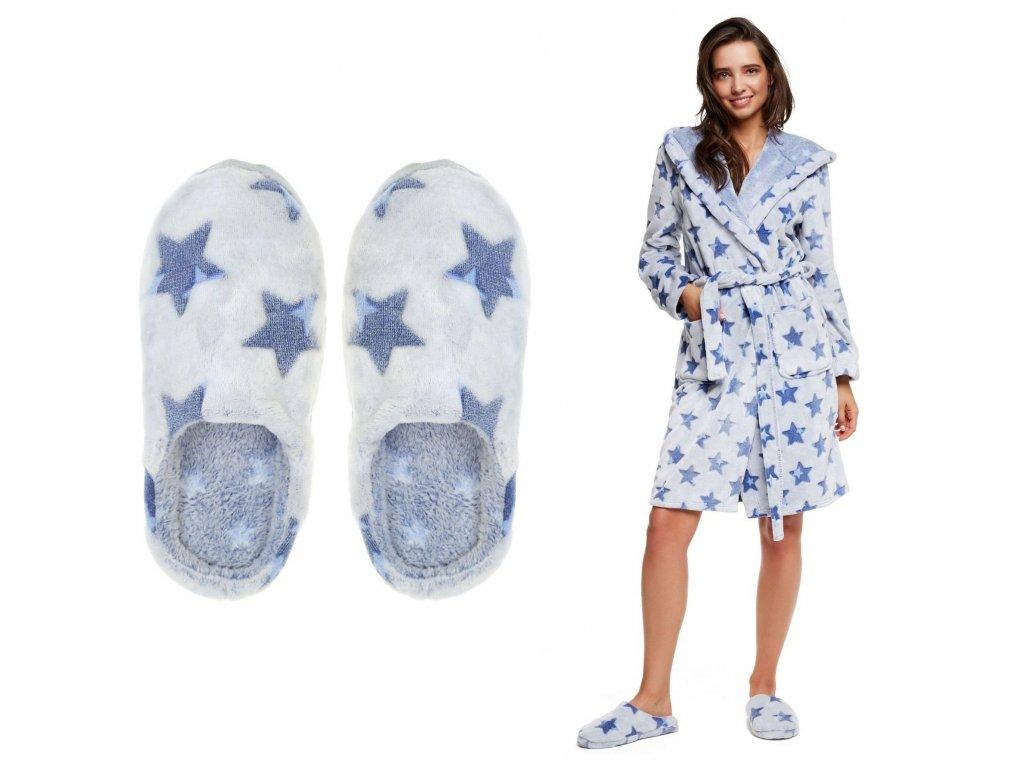 Dámské papuče s hvězdami modré