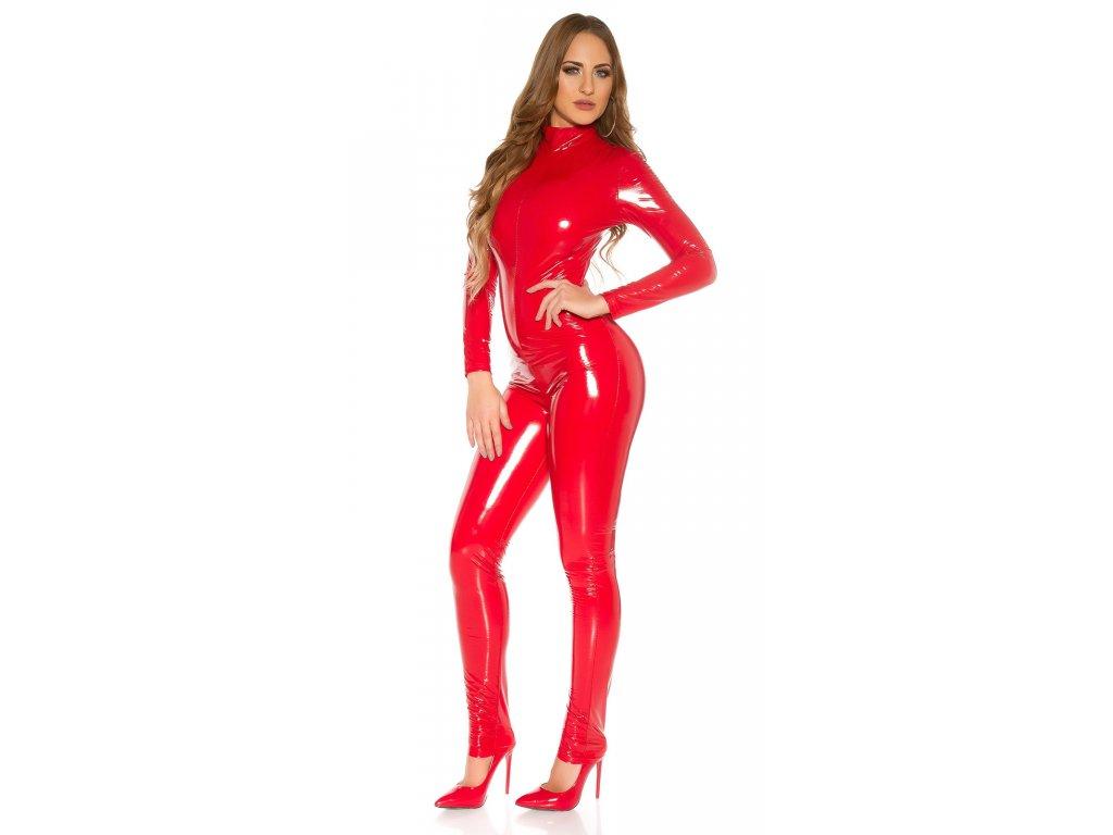 Dámský overal v latexovém vzhledu červený