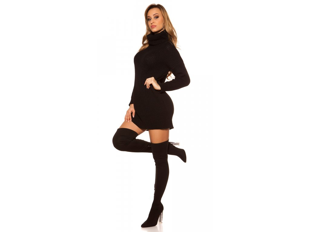 Oversize pletené šaty černé