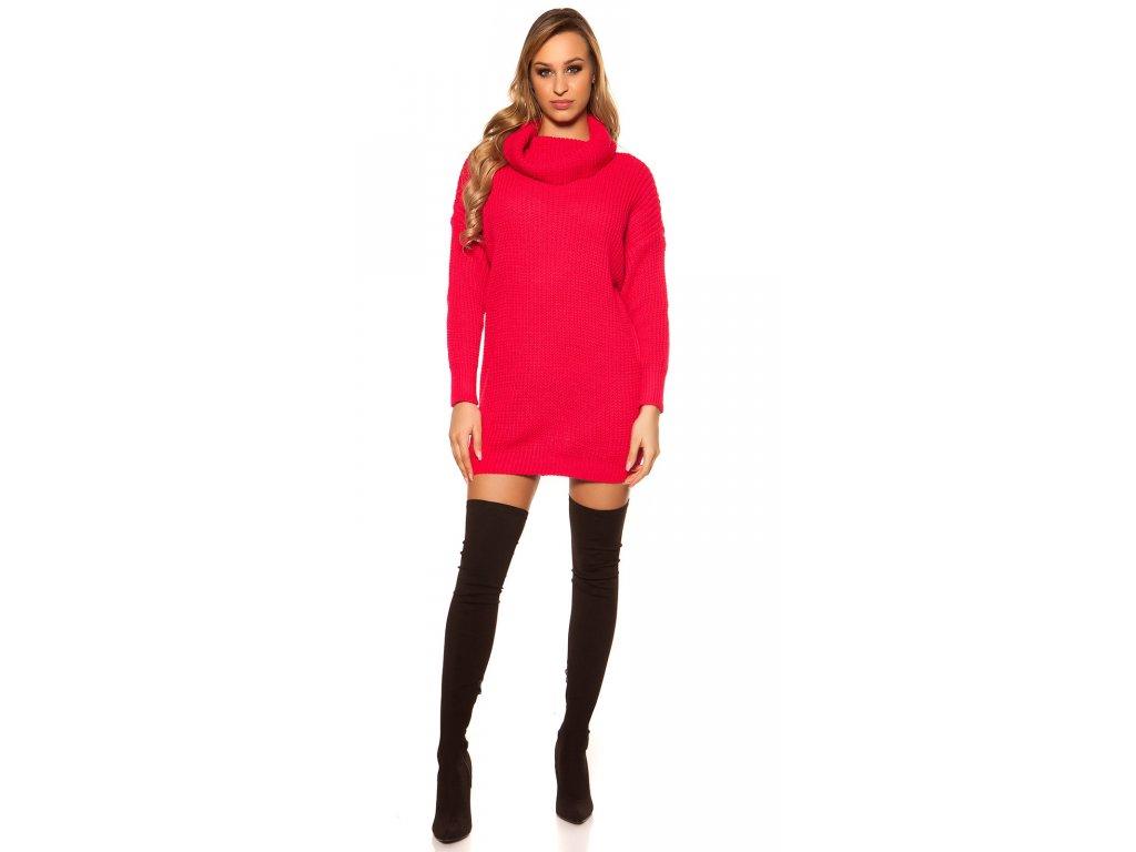 Oversize pletené šaty neonově fuchsiové