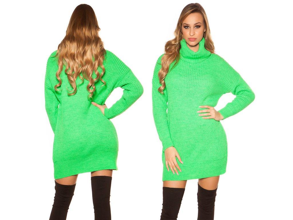 Oversize pletené šaty neonově zelené