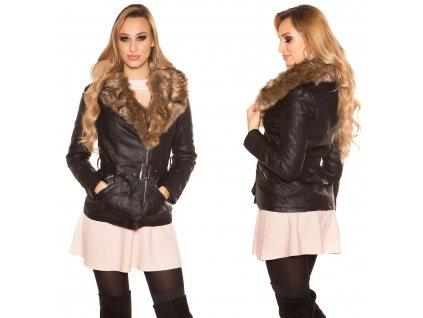 Dámská koženková bunda černá/béžová