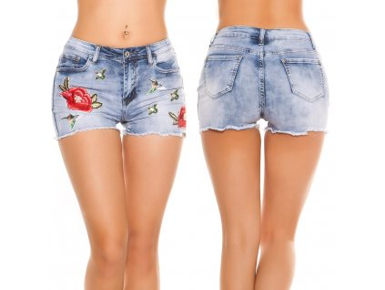 Dámské džínové šortky se záplatami