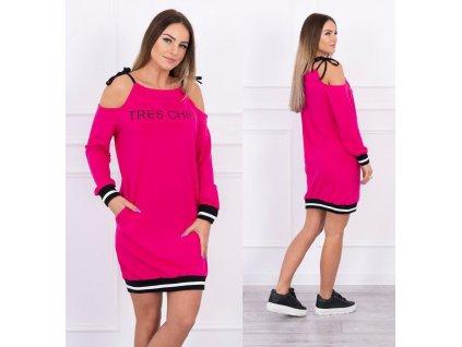 Dámské mikinové šaty fuchsiové