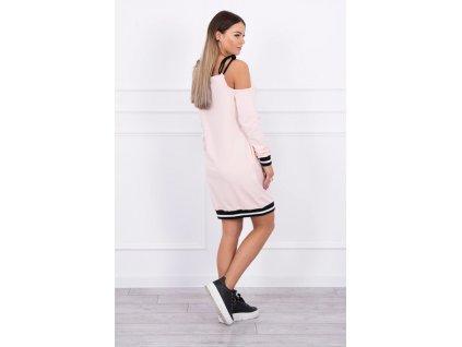 Dámské mikinové šaty pudrově růžové