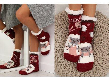 Dámské protiskluzové ponožky s beránkem bordó