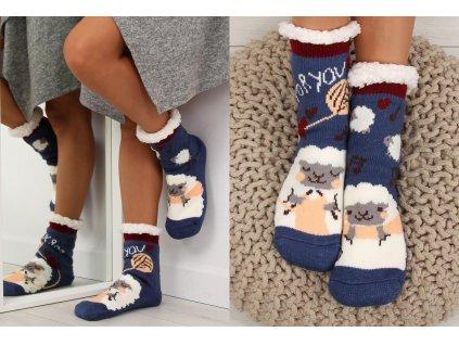 Dámské protiskluzové ponožky s beránkem granátové