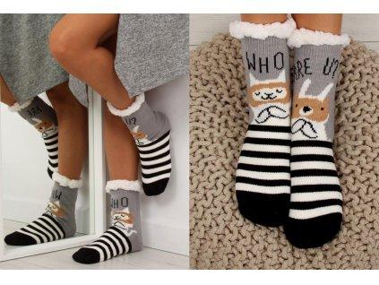 Dámské protiskluzové ponožky s beránkem Lys šedé/černé