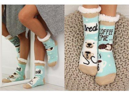 Dámské protiskluzové ponožky s beránkem mint