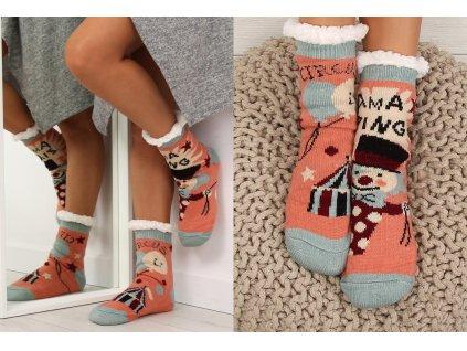 Dámské protiskluzové ponožky s beránkem růžové
