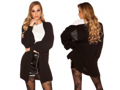 Dámský pletený cardigan černý oversize