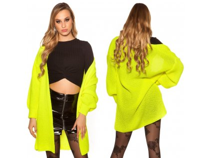 Dámský pletený cardigan neonově žlutý oversize