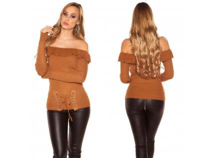 Dámský svetr s volánkem camel