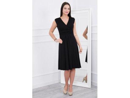 Midi šaty s rozšířenou sukýnkou černé