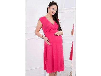 Midi šaty s rozšířenou sukýnkou fuchsiové