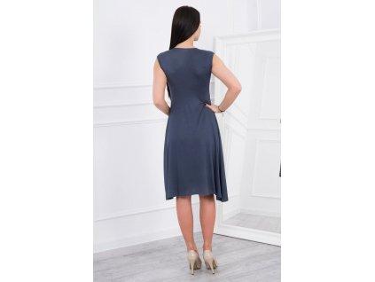 Midi šaty s rozšířenou sukýnkou grafitové