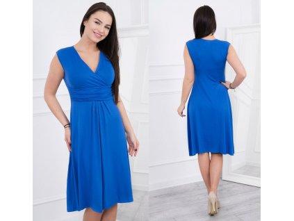 Midi šaty s rozšířenou sukýnkou královsky modré
