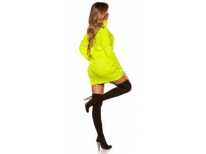 Oversize pletené šaty neonově žluté
