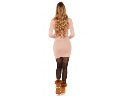 Pletené šaty starorůžové