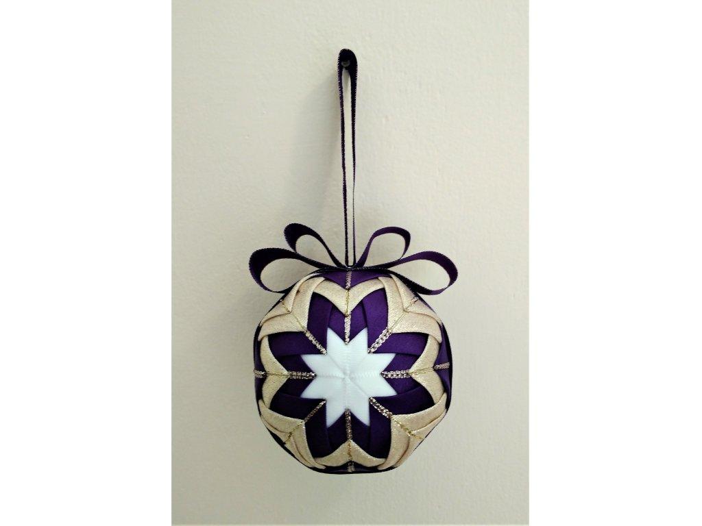Dekorativní baňka fialová 3, vánoční