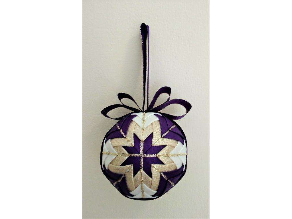 Dekorativní baňka fialová 4, vánoční
