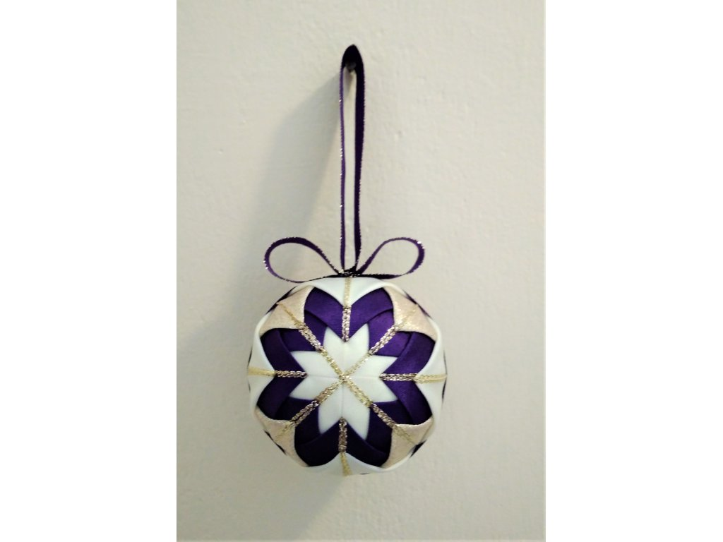 Dekorativní baňka fialová 9, vánoční, malá
