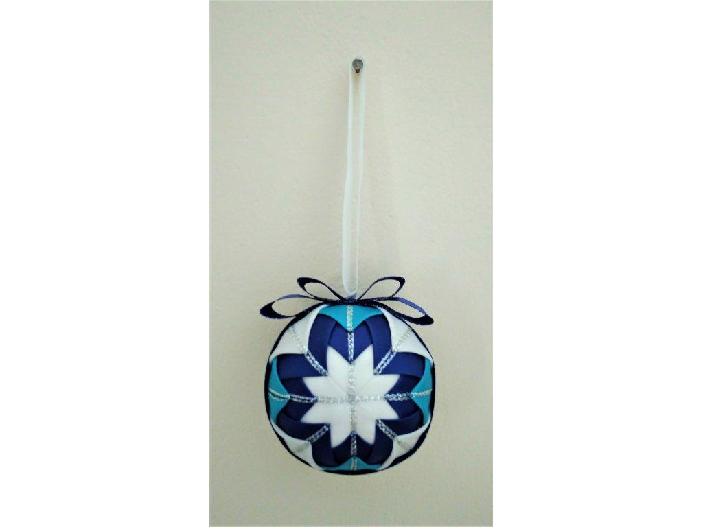 Dekorativní baňka modrá 11, vánoční, malá
