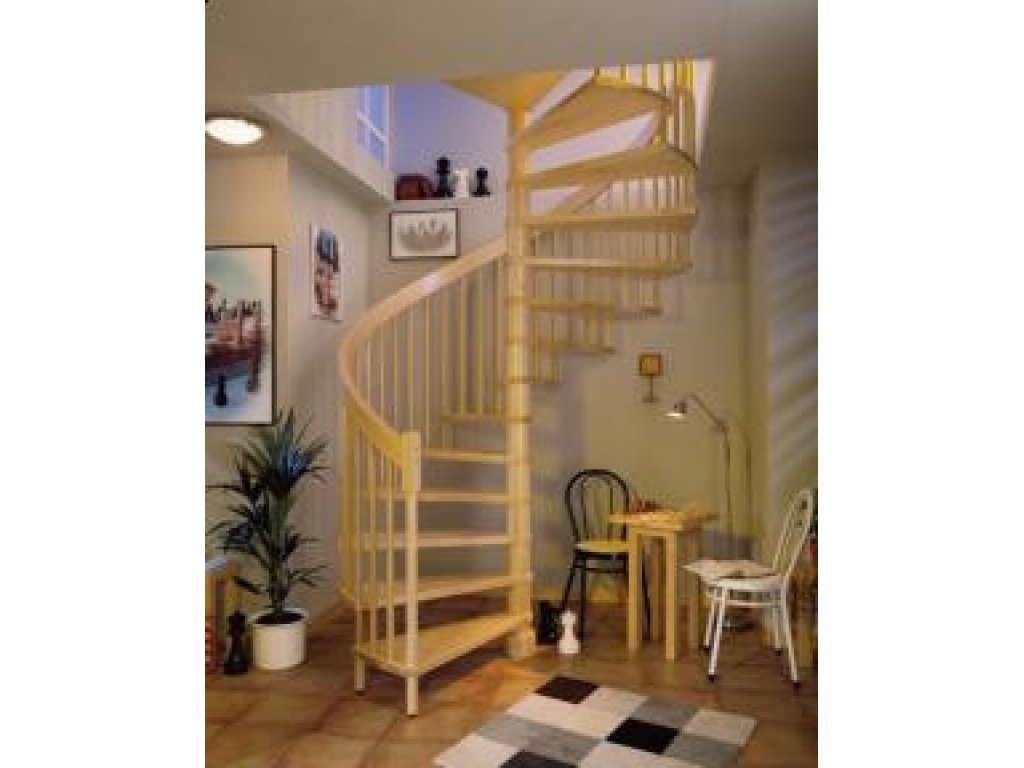 Dřevěné točité schody, buk nelakovaný, 12 nášlapů - průměr 120 cm