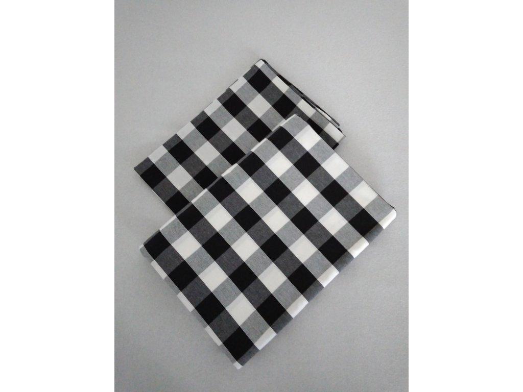 Kanafasové povlečení Šimon kostka, černo-bílá, peřina 140x200 cm, polštář 70x90
