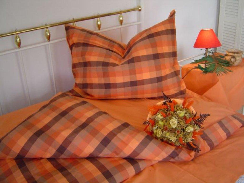 Kanafasové povlečení Zbyněk oranž,  přikrývka 140x200 +polštář 70x90