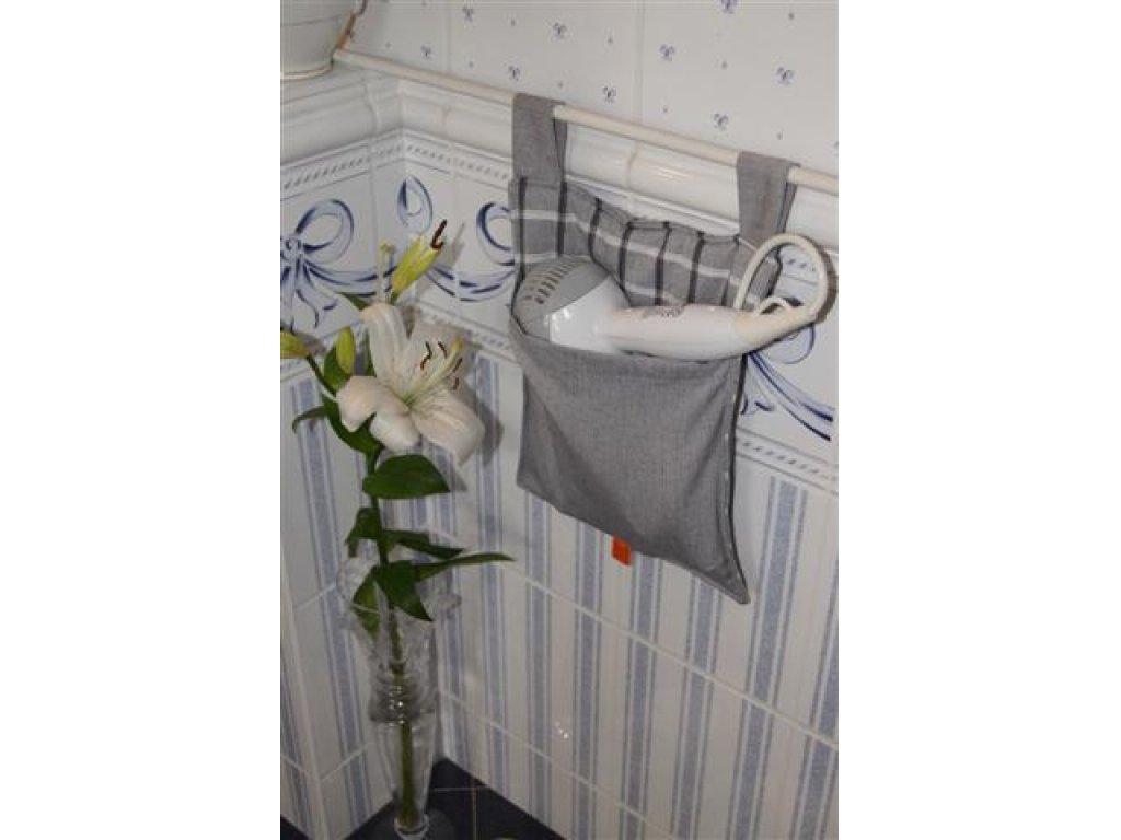 Kanafasový kapsář Šimon šedá, mřížka melír, 25x30 cm