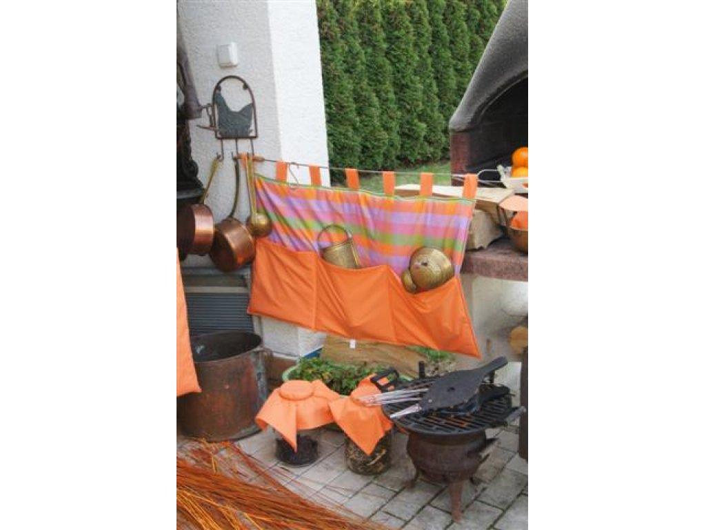 Kanafasový kapsář Vendy, oranžová s pruhy, 90x50 cm