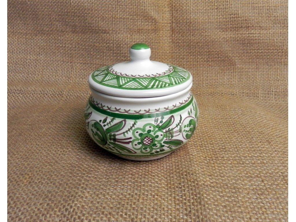 Keramická cukřenka s pokličkou, zelená a bílá