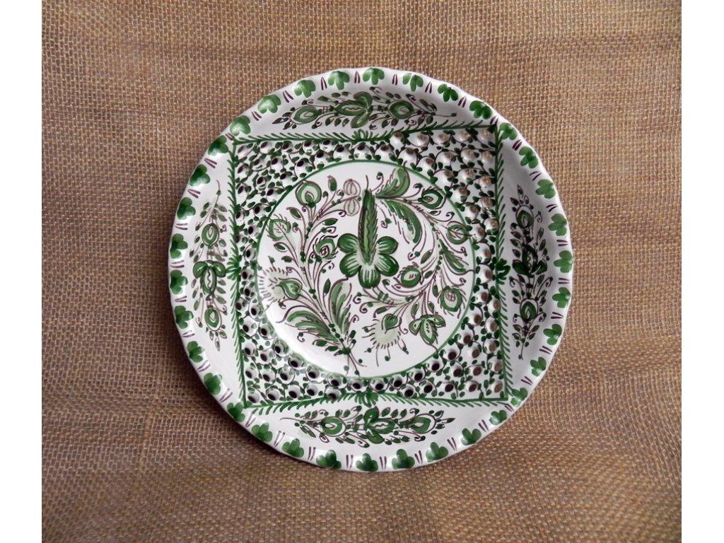 Keramická dírkovaná miska, zelenobílá