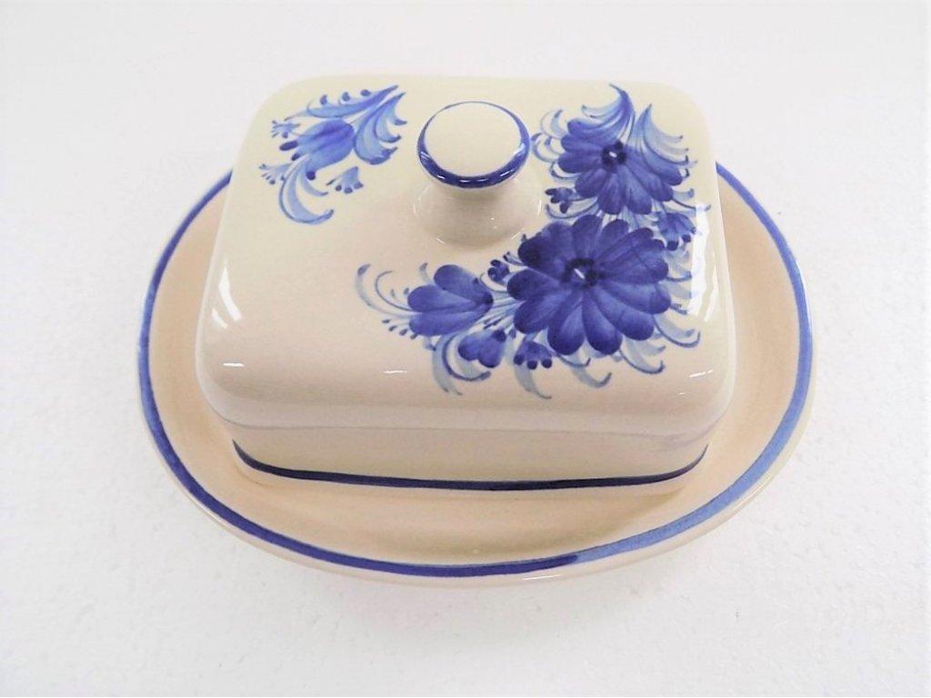 Keramická máslenka hranatá, modré květiny 4.