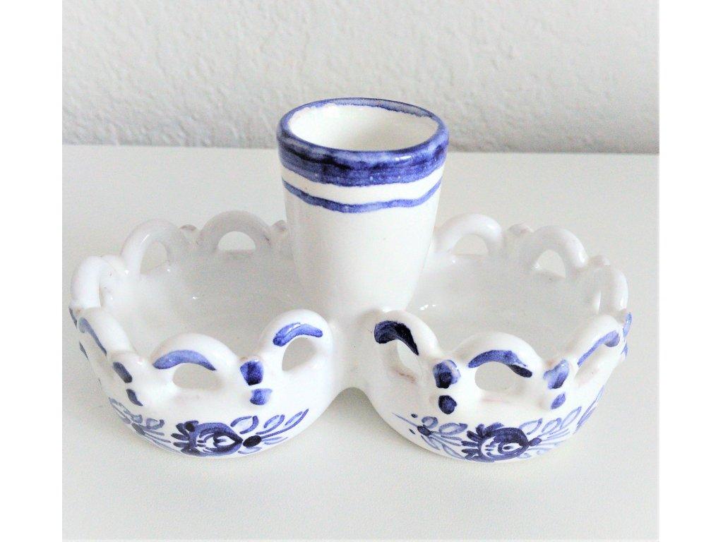 Keramická solnička s krajkou, modro-bílá růže