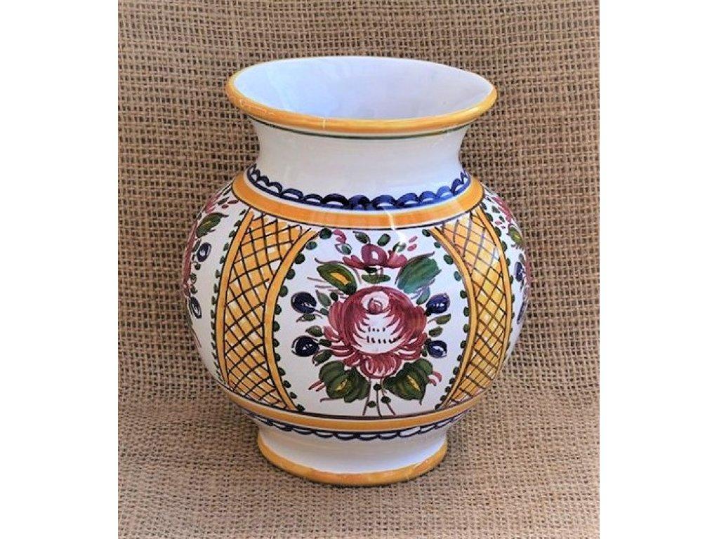 Keramická váza baňatá žlutá, slovácká