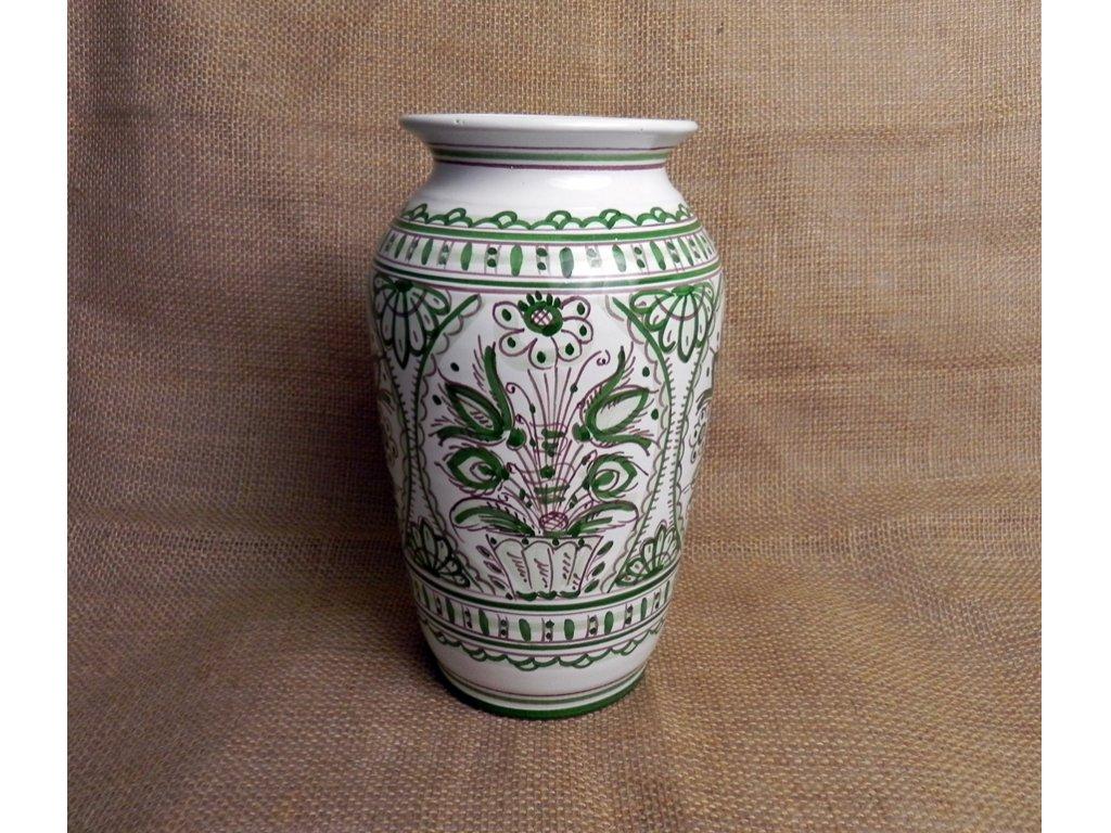 Keramická váza rovná, zelenobílá