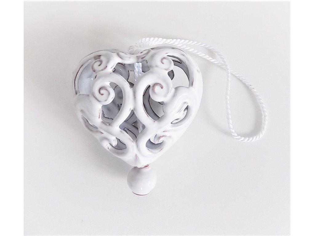 Keramické srdce vyřezávané - rustik