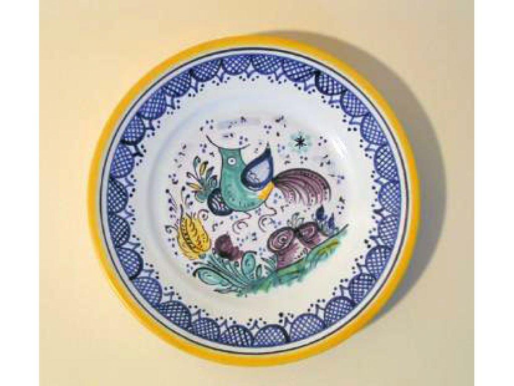 Keramický dekorační habánský talířek s ptáčkem