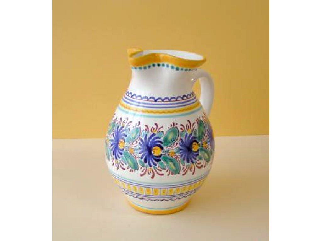 Keramický džbán s pyskem - modro-žlutý