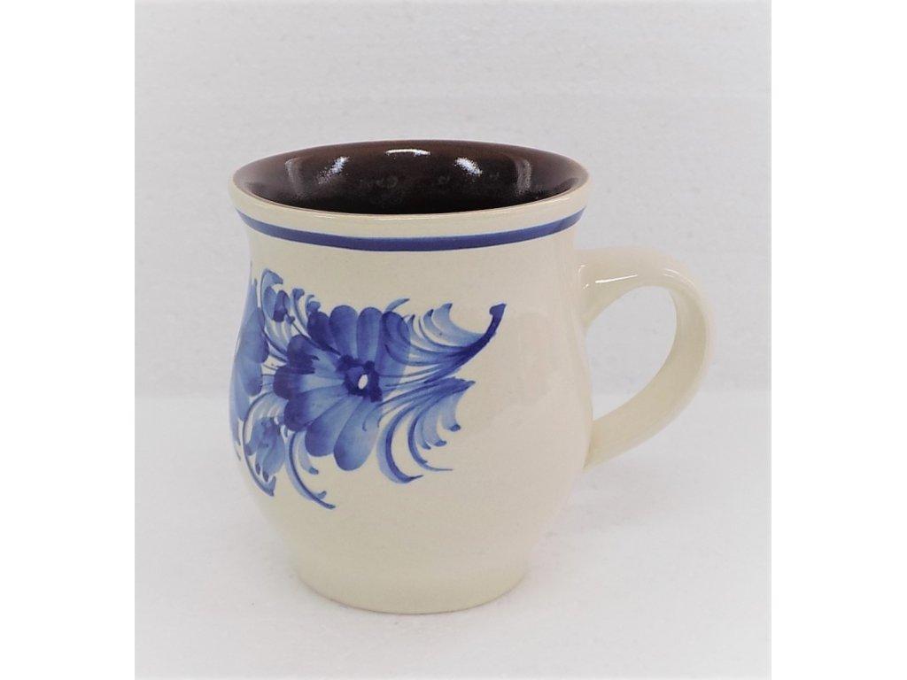 Keramický hrneček na kávu, úzký s modrými květy 0,25 l  v. 9,5 cm