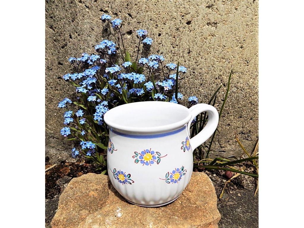 Keramický hrneček - vzor modré pomněnky - 0,3 l - romantický
