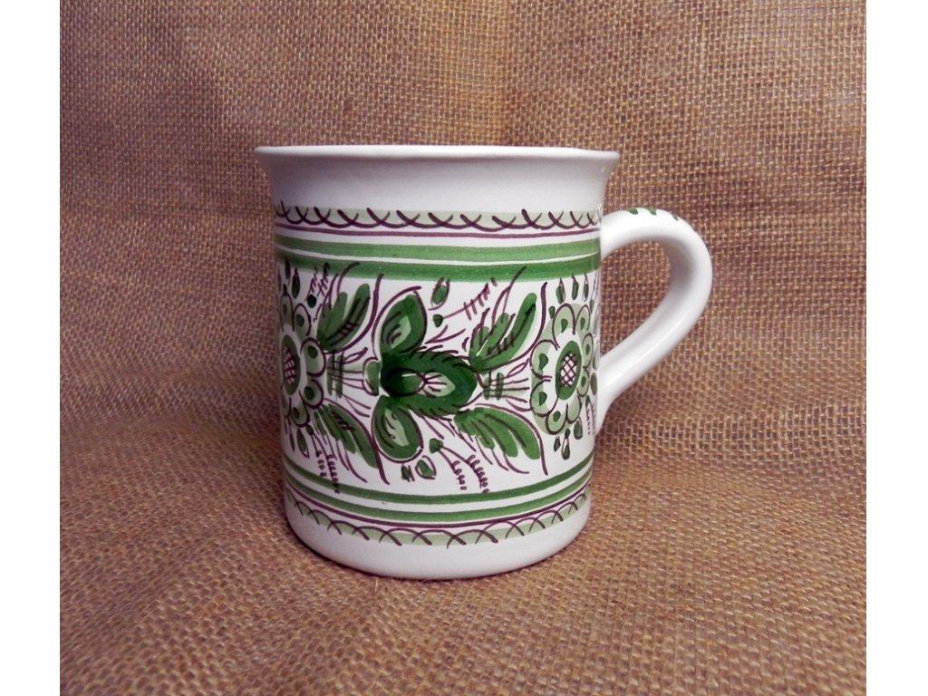 Keramický hrnek na čaj, zelenobílý