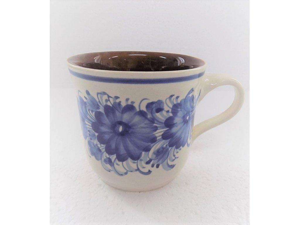 Keramický hrnek rovný, modré květiny 0,4 l