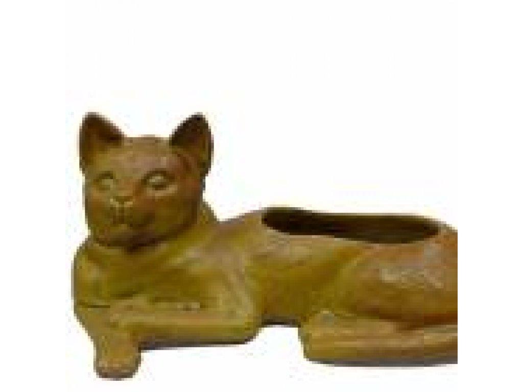 Keramický květináč kočka šlemovka světlá-délka 32 cm, šířka 17 cm, výška 15 cm