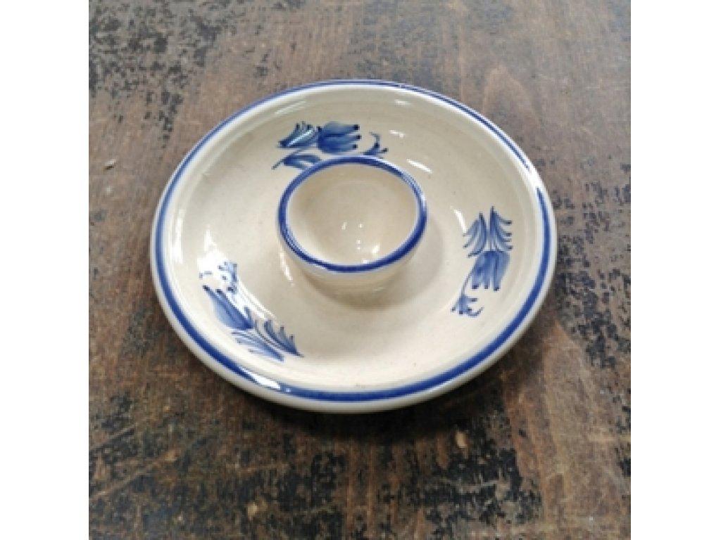Keramický stojan na vajíčko modré květy