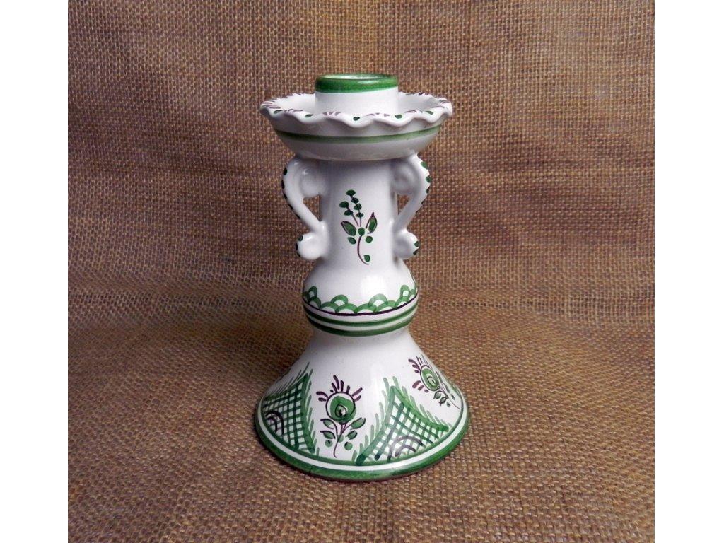 Keramický svícen zeleno-bílý