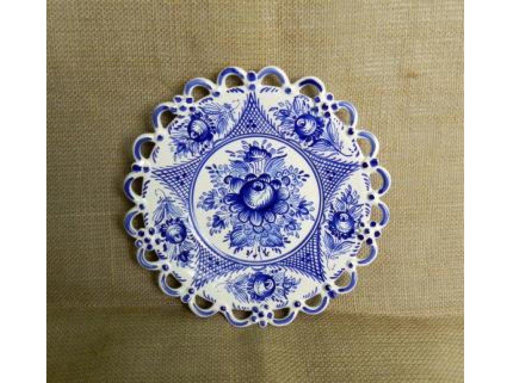 Keramický talíř - jedna krajka, modrý vzor