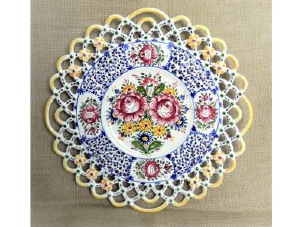 Keramický talíř - tři krajky, slovácký